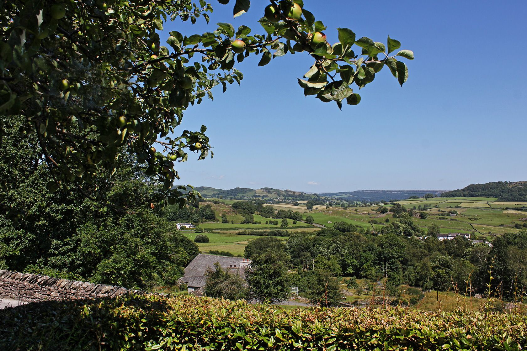 External shot of the view from Winster Cottage close to Windermere at the Masons Arms Inn and Hotel in Strawberry Bank